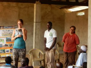 Iris Kirsten and Elise Bakker during an educational workshop at one of the villages surrounding Sena Oura National Park.