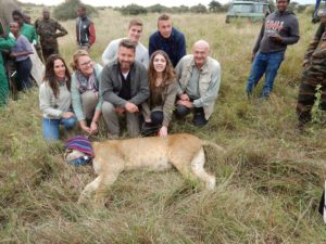 Our sponsors with the sedated lioness Nina.